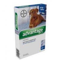 Advantage 400 Hond ( 25 - 40 kg ) 4 x 4,0 ml pipetten     incl. gratis teken/ vlooienkam (art. 3382)