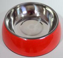 Hondendrink- / voerbak klein (16cm)-Rood